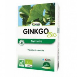 Biotechnie Ginkgo biloba bio 20 ampoules de 10ml Biotechnie Circulation Onaturel.fr