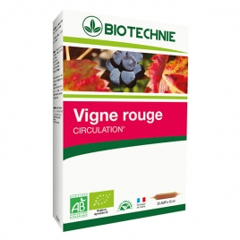Biotechnie Vigne rouge bio 20 ampoules de 10ml Biotechnie Circulation Onaturel.fr
