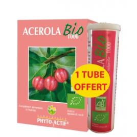 Phyto-Actif Acérola Bio 1000 AB 24 comprimés Lot de 2 Tubes + 1 offert Phyto-Actif Accueil Onaturel.fr