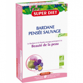 Super Diet Bardane Pensée Sauvage Bio 20 ampoules 15ml soit 300ml Super Diet Categorie temp Onaturel.fr