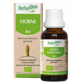 Herbalgem Gemmobase Viorne bio Flacon compte gouttes 50ml Herbalgem Gemmobase Accueil Onaturel.fr