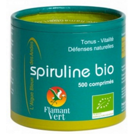 Spiruline, Ecocert, Flamant vert, 250g net 500 comprimes de 500 mg Flamant Vert Forme et Vitalité Onaturel.fr