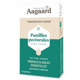 Aagaard Pastilles Pectorales Apais'Toux 30 pastilles Aagaard Rhume- Gorge-Bronches- Nez Onaturel.fr