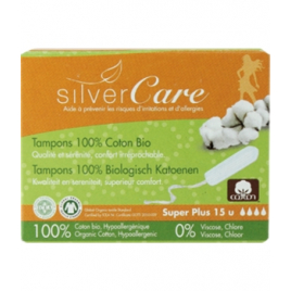 Silvercare Tampons 100% coton bio sans applicateur, boîte de 15, Super Plus