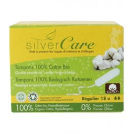 Silvercare Tampons 100% coton bio sans applicateur, boîte de 18, Régulier Silvercare Accueil Onaturel.fr
