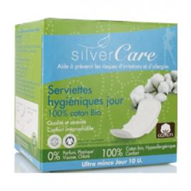Silvercare Serviettes jour 100% coton bio Ultra minces avec ailettes 10 unités Silvercare Accueil Onaturel.fr