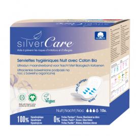 Silvercare Serviettes nuit 100% coton bio Ultra minces avec ailettes 10 unités Silvercare